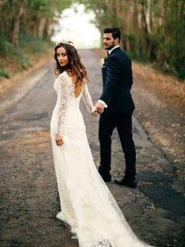Sheath/Column Long Sleeves V-neck Court Train Applique Lace Wedding Dress