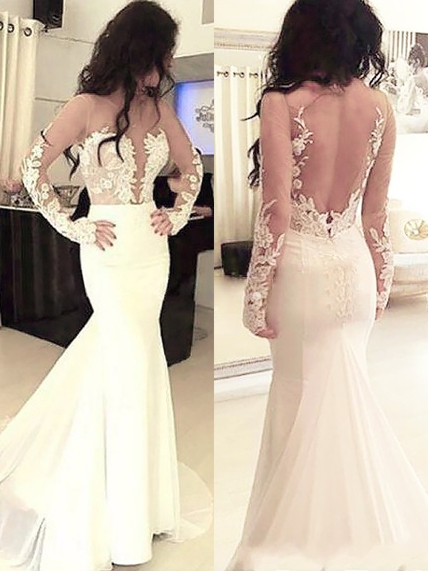 Trumpet/Mermaid Scoop Chiffon Long Sleeves Applique Sweep/Brush Train Dresses