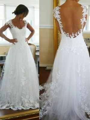 A-Line/Princess V-neck Sweep/Brush Train Lace Sleeveless Tulle Wedding Dresses