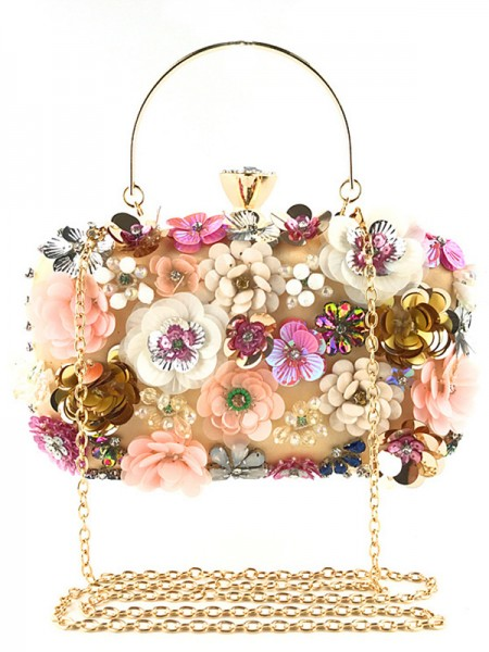 Pretty Satin Casual 3D Flowers Evening Bags