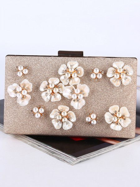 Pearl 3D Flowers Weding Evening Party Purse
