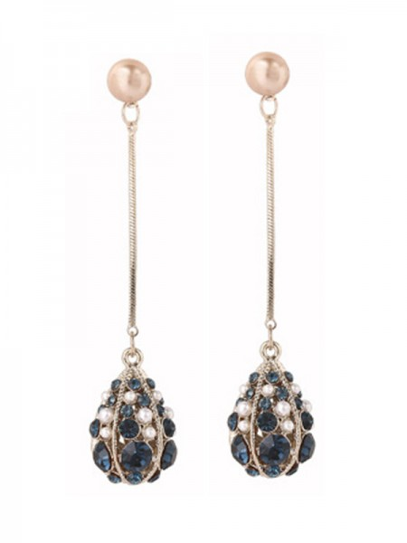Unique S925 Silver With Pearl Water Drop Womens Earrings