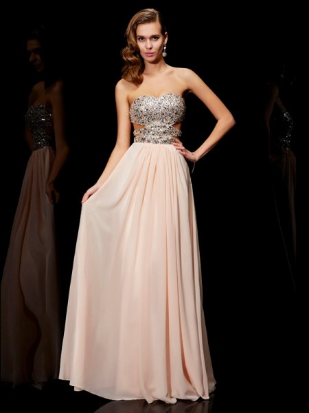 A-Line/Princess Sweetheart Rhinestone Dress with Chiffon
