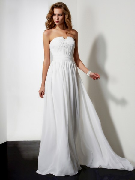 A-Line/Princess Strapless Sleeveless Pleats Ruffles Long Chiffon Dresses