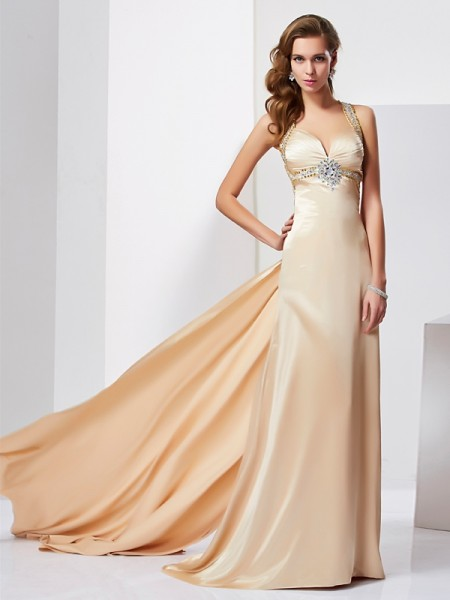 Sheath/Column Halter Ruffles Long Silk like Satin Dress
