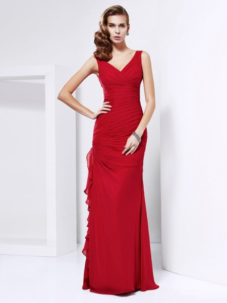 Sheath/Column V-neck Ruched Dress with Long Chiffon