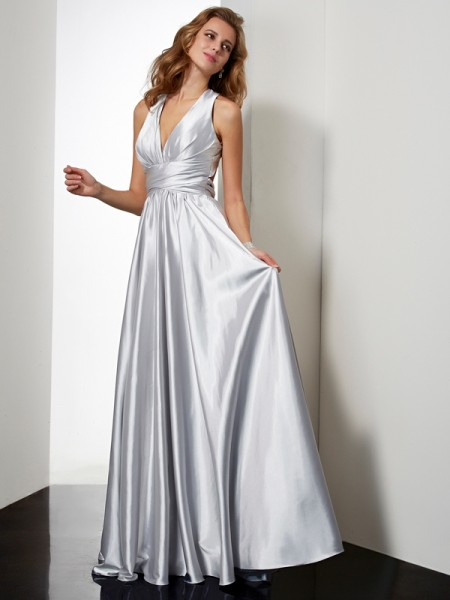 Sheath/Column Halter Pleats Long Elastic Woven Satin Dress