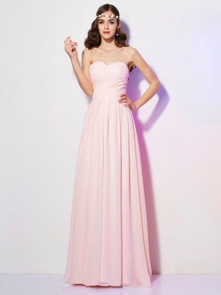 A-Line/Princess Sweetheart Long Pleats Chiffon Bridesmaid Dress
