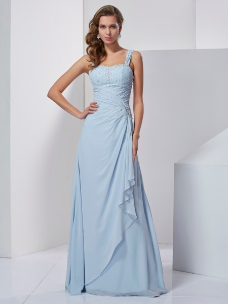 A-Line/Princess Straps Beading Dress with Long Chiffon
