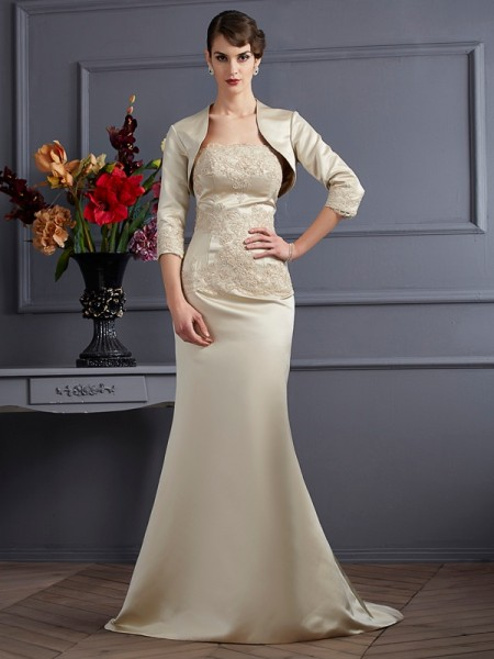 Trumpet/Mermaid Strapless Applique Long Satin Mother of the Bride Dress