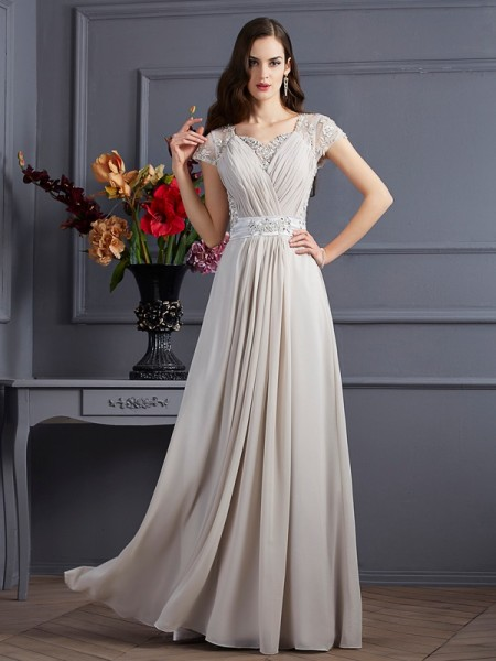 A-Line/Princess Sweetheart Short Sleeves Beading Dress with Long Chiffon