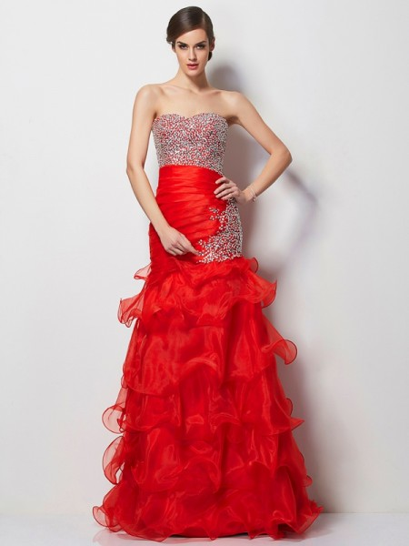Trumpet/Mermaid Sweetheart Beading Long Tulle Dress