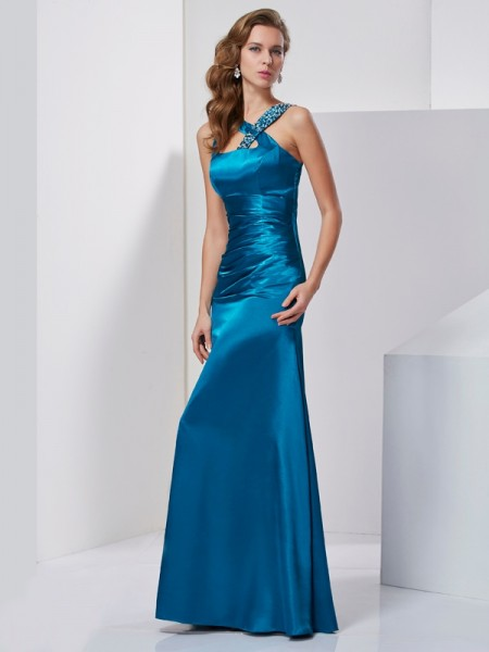 Sheath/Column Straps Beading Long Silk like Satin Dress