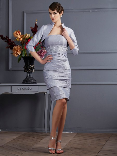 Sheath/Column Strapless Short Taffeta Mother of the Bride Dress