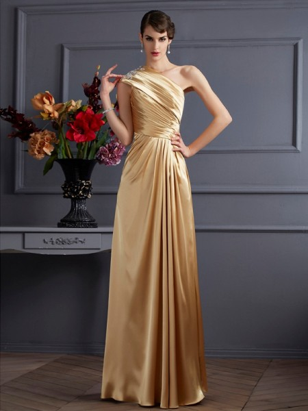 A-Line/Princess One-Shoulder Beading Long Elastic Woven Satin Dress