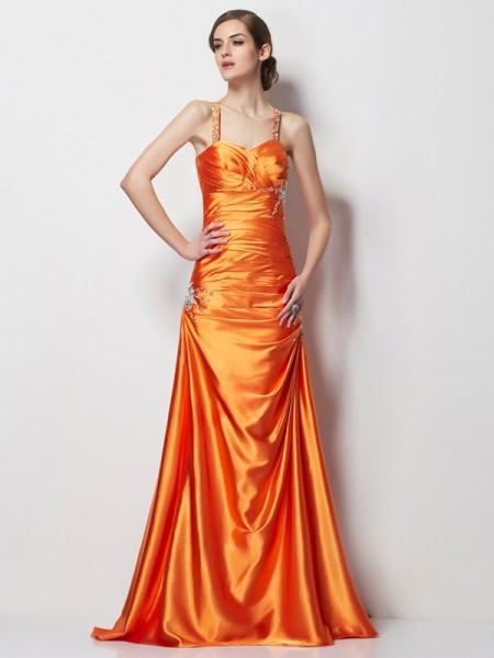 A-Line/Princess Spaghetti Straps Beading Long Elastic Woven Satin Dress