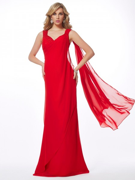Sheath/Column Straps Beading Dress with Long Chiffon