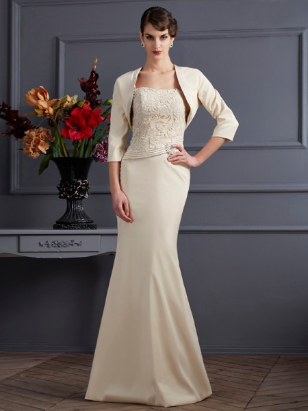 Sheath/Column Square Lace Long Elastic Woven Satin Mother of the Bride Dress