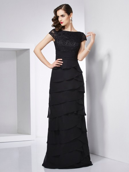 Sheath/Column Scoop Short Sleeves Dress with Long Chiffon