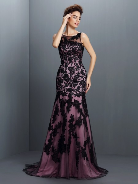 Trumpet/Mermaid Bateau Applique Sleeveless Long Elastic Woven Satin Dresses