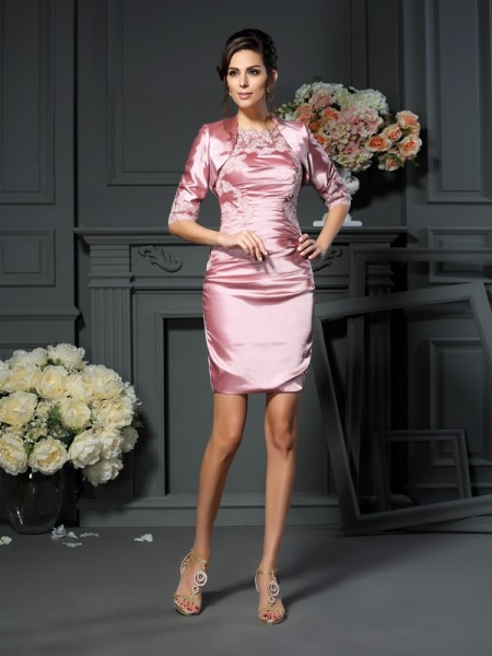 Sheath/Column Scoop Applique Short Elastic Woven Satin Mother of the Bride Dress