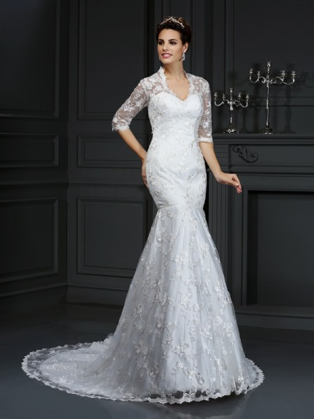 Trumpet/Mermaid V-neck Lace 1/2 Sleeves Long Lace Wedding Dress