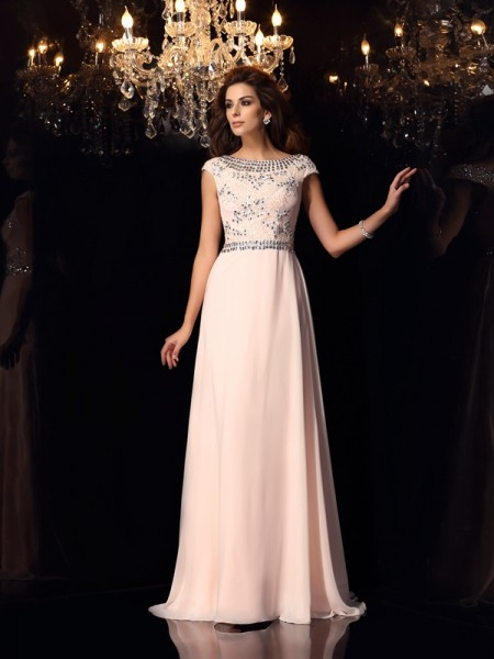 A-Line/Princess Bateau Beading Short Sleeves Dress with Long Chiffon