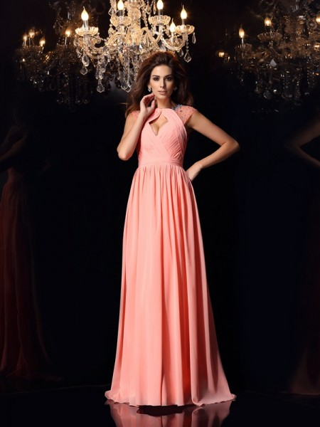 A-Line/Princess Scoop Beading Dress with Long Chiffon