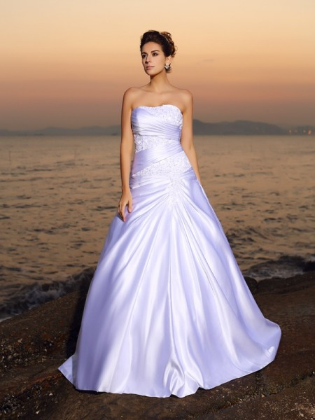Ball Gown Strapless Beading Long Satin Beach Wedding Dress