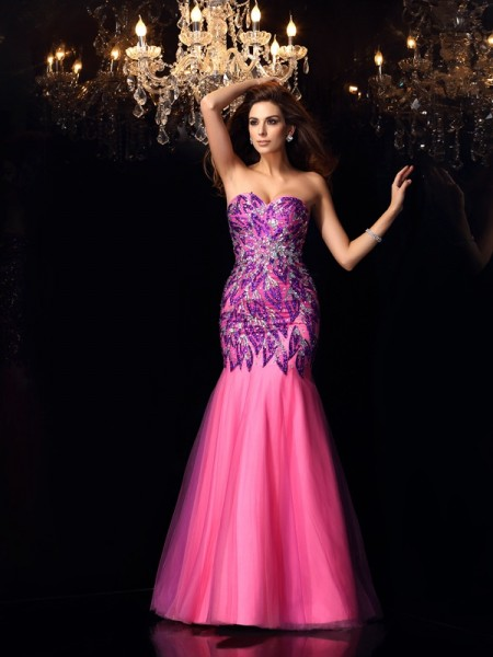Trumpet/Mermaid Sweetheart Beading Long Net Dress