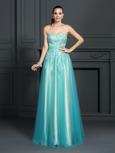A-Line/Princess Sweetheart Applique Long Elastic Woven Satin Dress