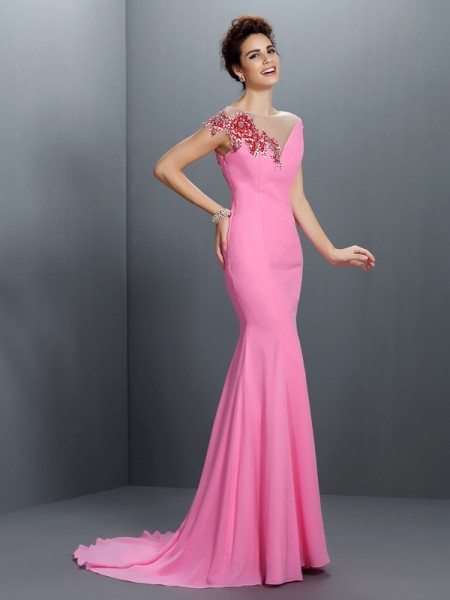 Trumpet/Mermaid Bateau Beading Short Sleeves Dress with Long Chiffon