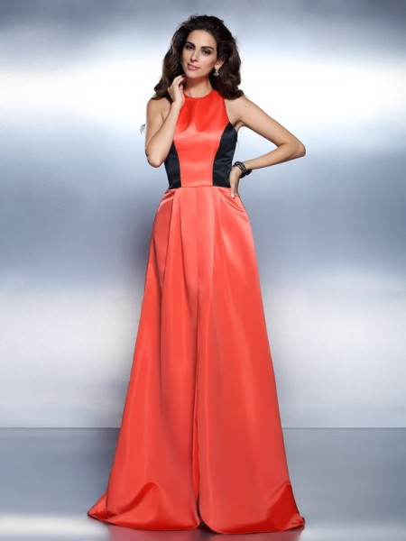 A-Line/Princess High Neck Long Satin Dress