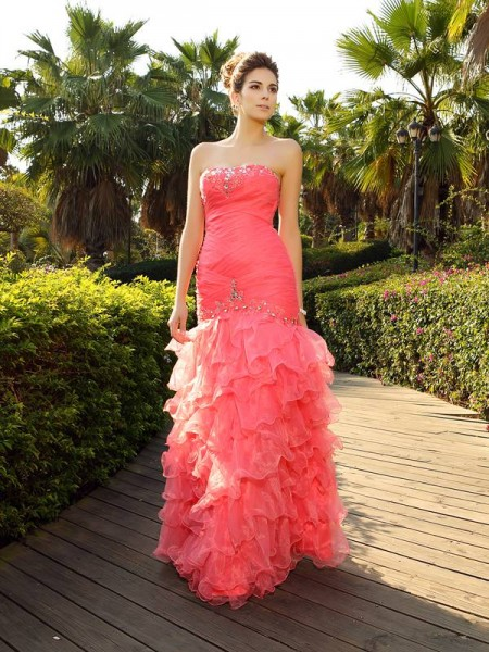 Trumpet/Mermaid Strapless Beading Long Organza Dress