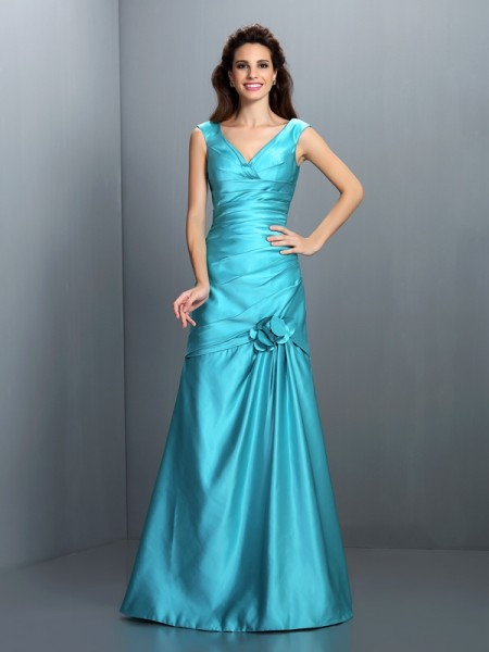 A-Line/Princess V-neck Pleats Long Satin Bridesmaid Dress