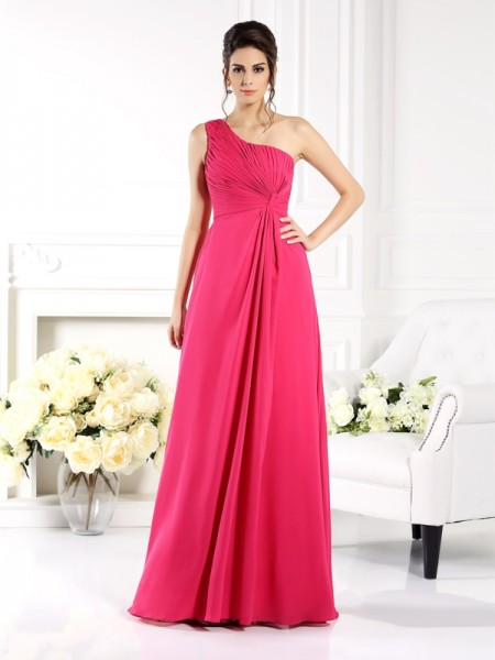 A-Line/Princess One-Shoulder Ruched Bridesmaid Dress with Long Chiffon