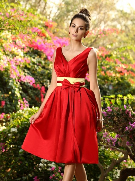 A-Line/Princess V-neck Pleats Sash/Ribbon/Belt Short Satin Bridesmaid Dress