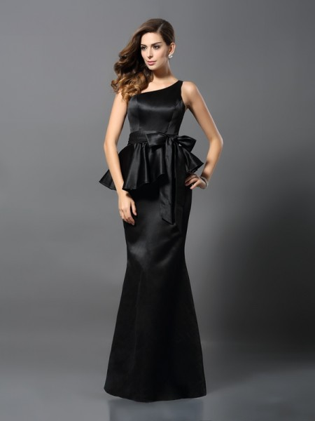 Trumpet/Mermaid One-Shoulder Bowknot Long Satin Dress