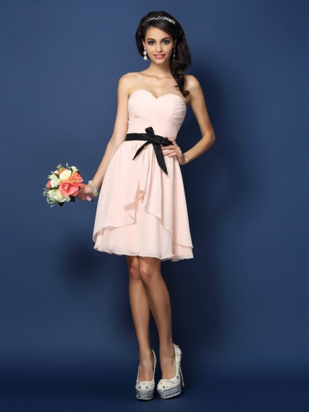 A-Line/Princess Sweetheart Sash/Ribbon/Belt Short Chiffon Bridesmaid Dress