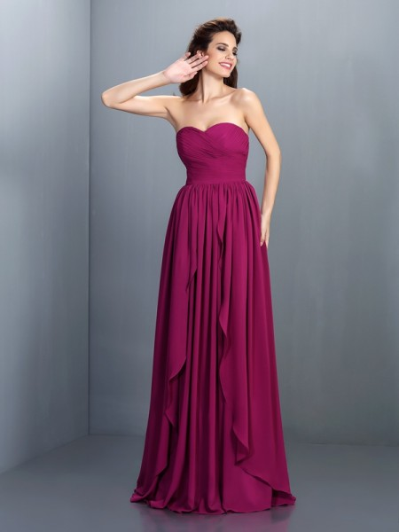 A-Line/Princess Sweetheart Pleats Dress with Long Chiffon