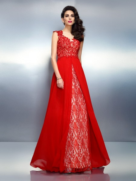 A-Line/Princess Bateau Applique Long Net Dress