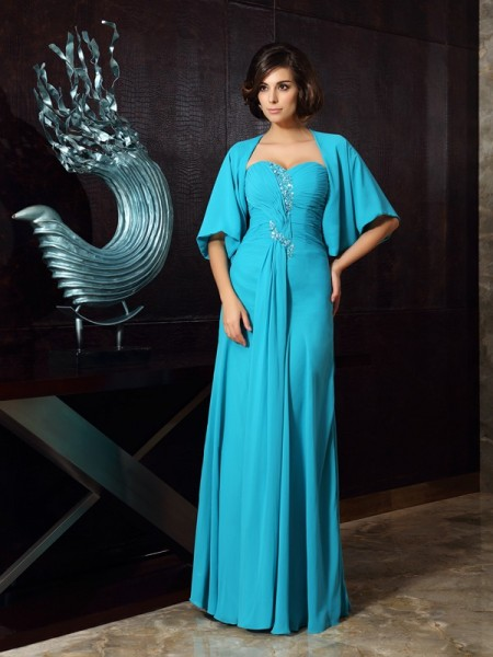 Sheath/Column Sweetheart Beading Mother of the Bride Dress with Long Chiffon