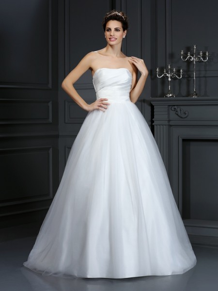 Ball Gown Strapless Pleats Long Taffeta Wedding Dress