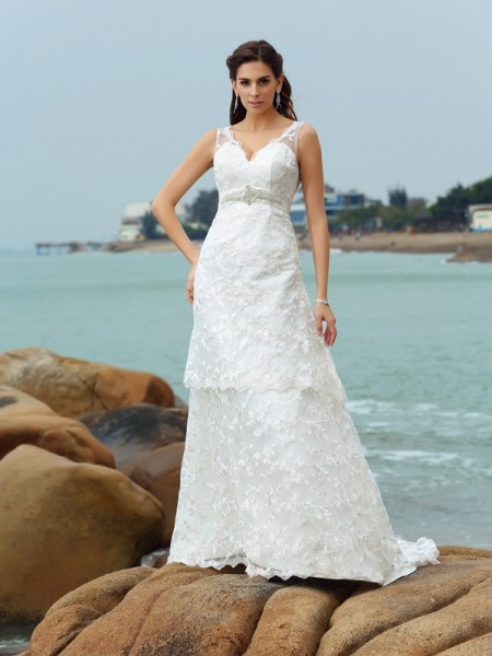 A-Line/Princess Straps Applique Long Satin Beach Wedding Dress