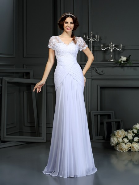 Sheath/Column V-neck Lace Short Sleeves Wedding Dress with Long Chiffon
