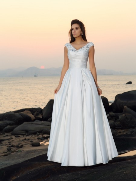 A-Line/Princess V-neck Beading Long Taffeta Beach Wedding Dress