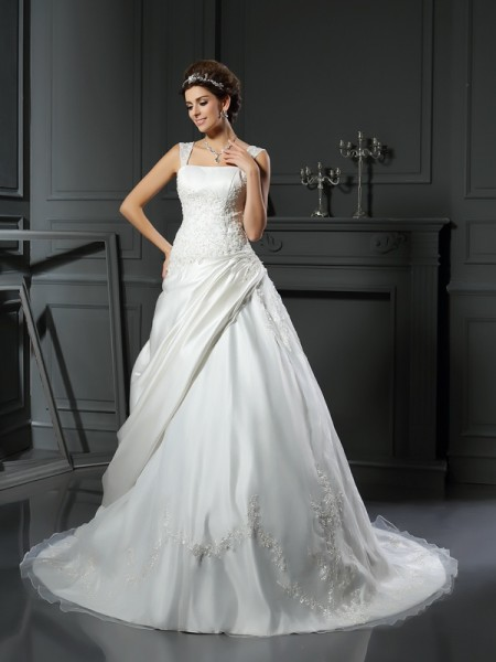 Ball Gown Straps Applique Long Satin Wedding Dress