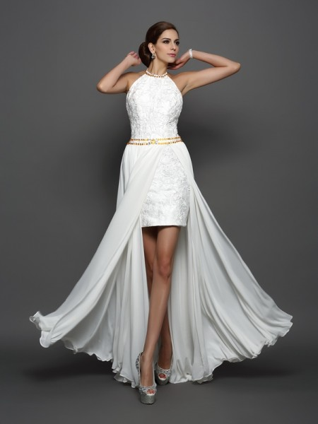A-Line/Princess High Neck Lace Wedding Dress with Long Chiffon