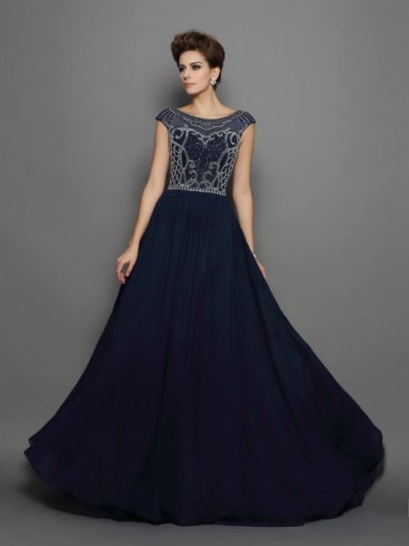 A-Line/Princess Scoop Beading Short Sleeves Dress with Long Chiffon