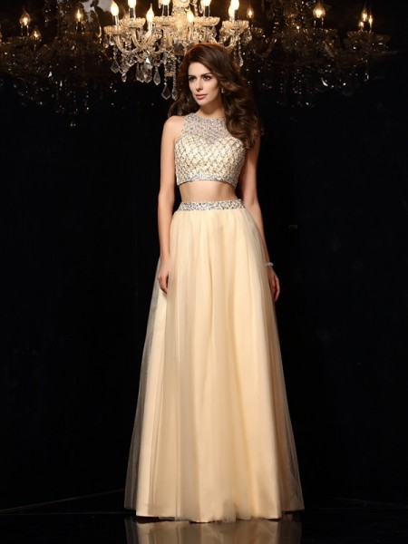 A-Line/Princess High Neck Beading Long Net Two Piece Dress